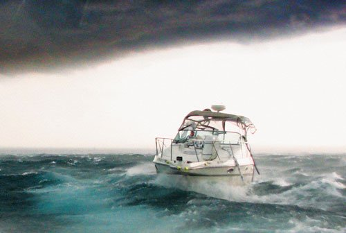 Photo of a powerboat in heavy weather