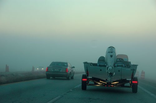the trouble trailer lights trailering boatus magazine photo of a trailer on a foggy road lights working