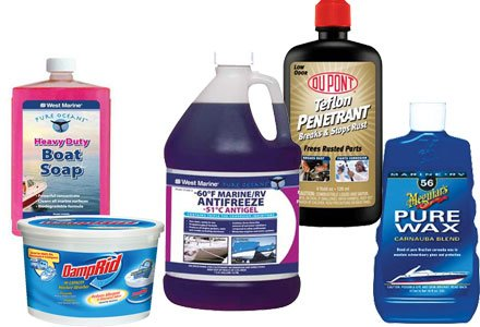 Photo of winter boat cleaning products