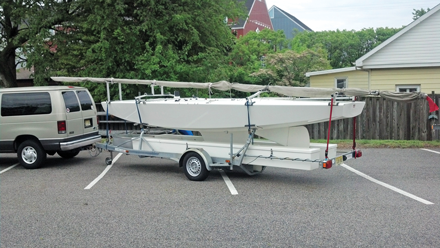 Boat in parking lot