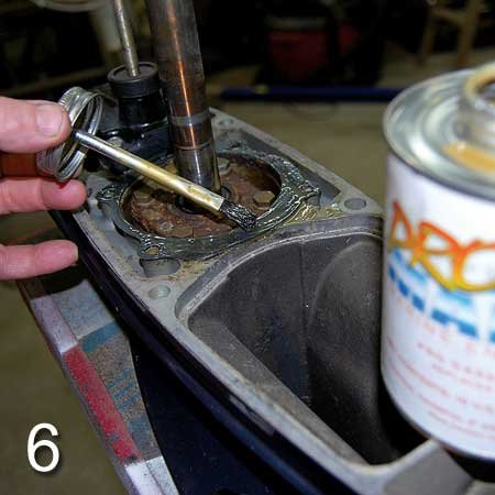 Photo of applying sealer on the gaskets