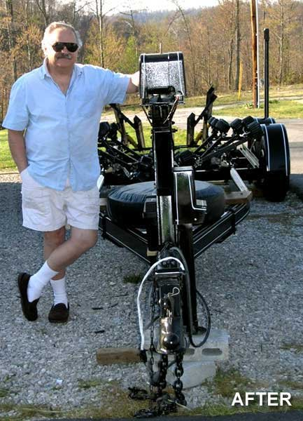 Photo of the author with his restored trailer