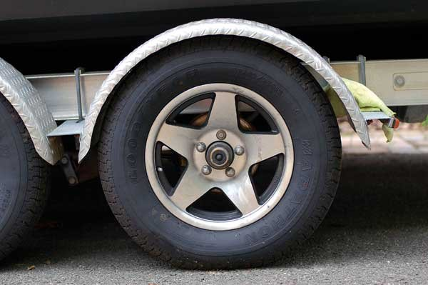 Photo of a trailer tire and fender