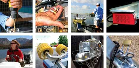 Photo collage of boat trailering and boat maintenance