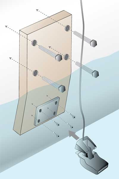 Illustration of a transom- mounted transducer on a piece of Starboard