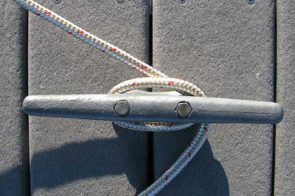 Photo of a Cleat Hitch starting with a full wrap
