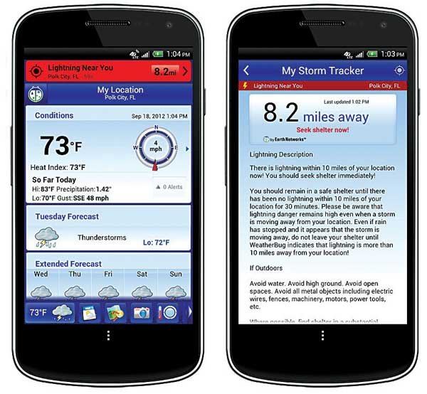 Photo of the Weatherbug (Android version) app