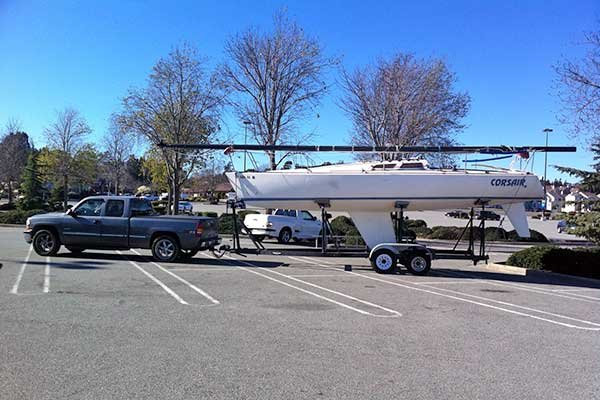 Photo of towing an Olson 30