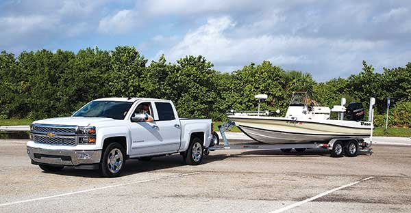 Photo of towing trailerable boat