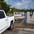Thumbnail photo of backing a boat trailer down a ramp