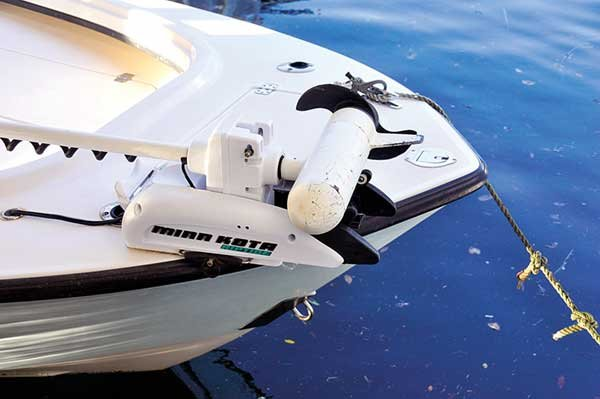 Photo of a bow mounted trolling motor