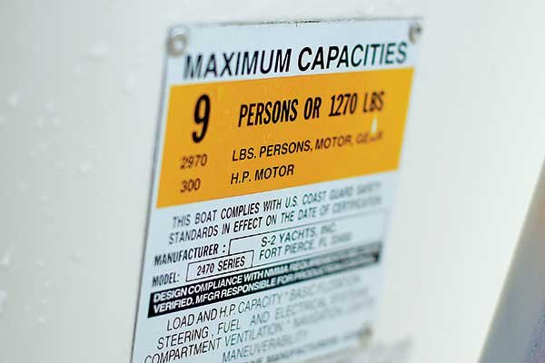 Photo of boat capacity plate
