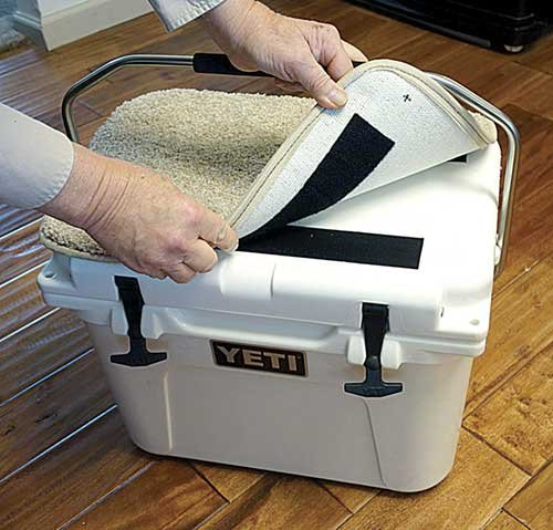 Photo of carpeting cooler lid