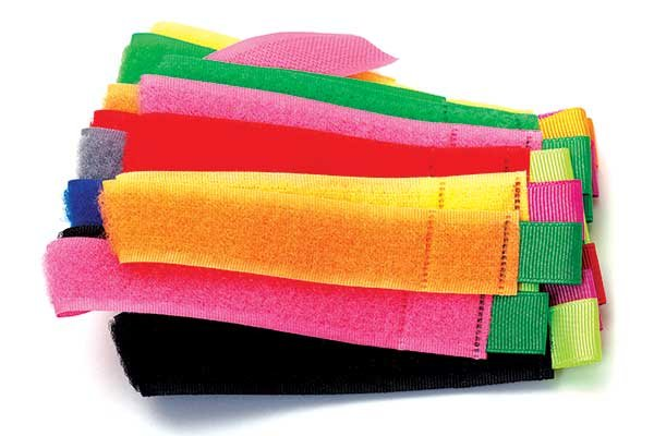 Photo of colorful velcro wraps