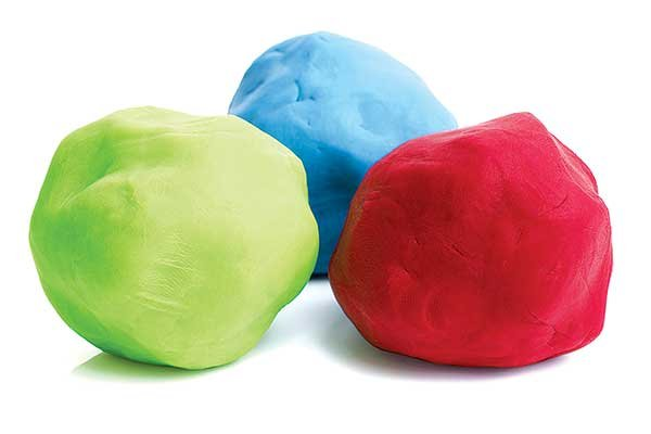 Photo of colorful mounds of modeling clay