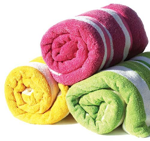 Photo of bath towels rolled up