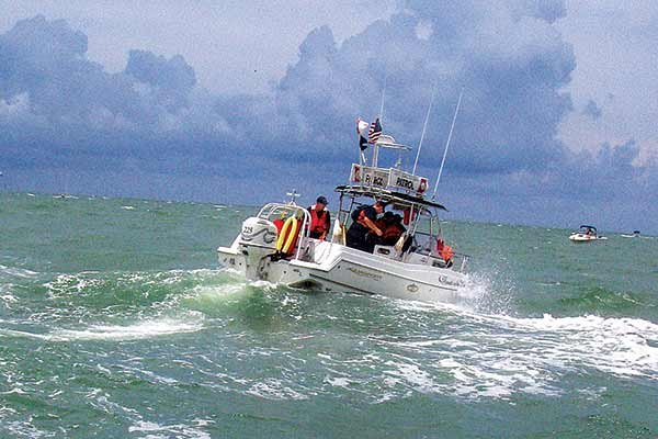 Photo of boaters encounter large waves