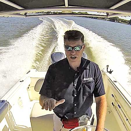 Photo of using trim tabs on a powerboat
