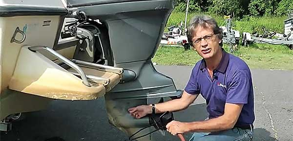Photo of flushing an outboard engine