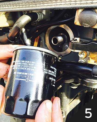 Photo of installing a new oil filter