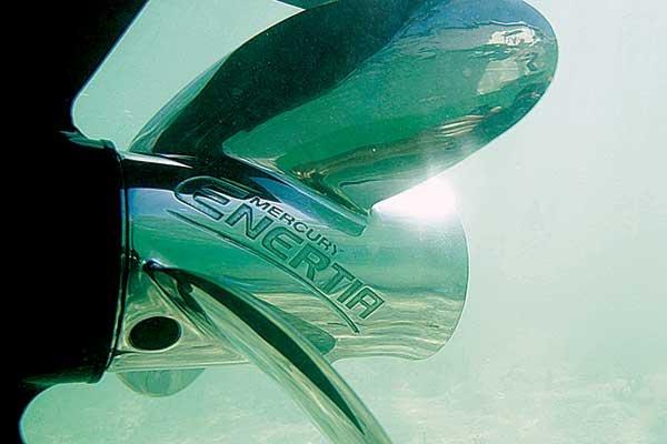 Photo of a Mercury Enertia prop underwater
