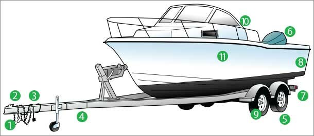 Trailer and boat illustration