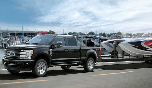 Front wheel drive Ford truck towing boat