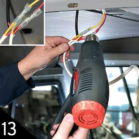 Using heat gun to seal all connections