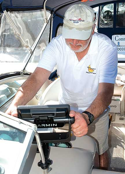 Using thumbscrews to attach a fishfinder to the helm