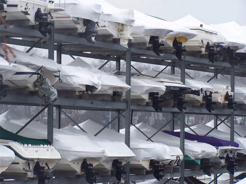 Boats in dry rack storage