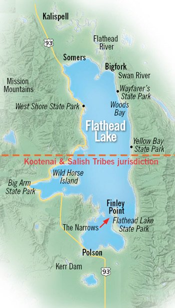 Map of Flathead Lake, Montana