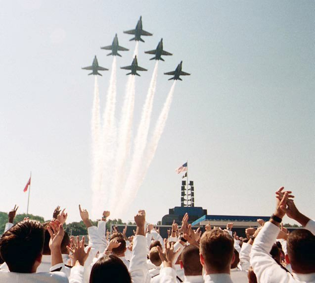 Photo of jets flying over cadets at the US Naval Academy