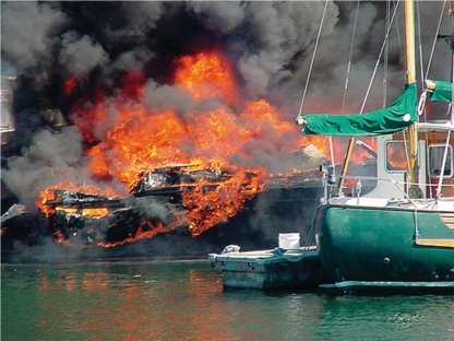 Photo of boat on fire