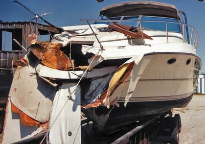 Photo of a damaged boat