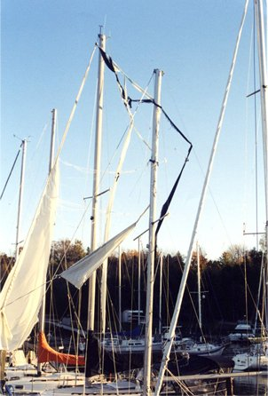 Photo of rolled furling sails