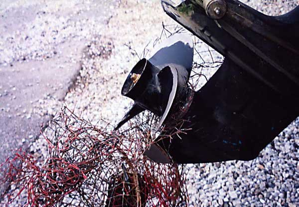 Photo of an outdrive propeller snagged on a lobster pot