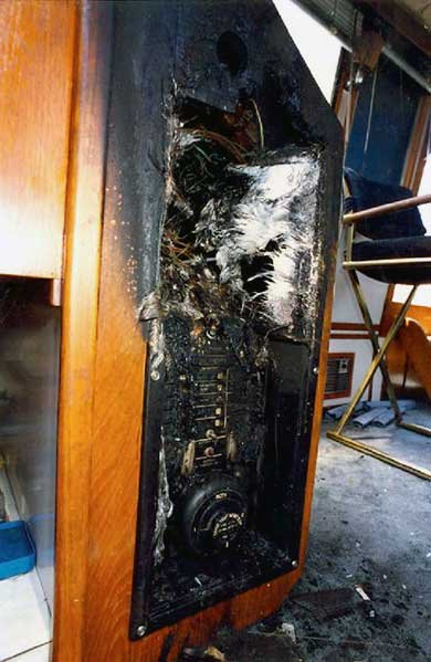 Boat's main electrical panel fire