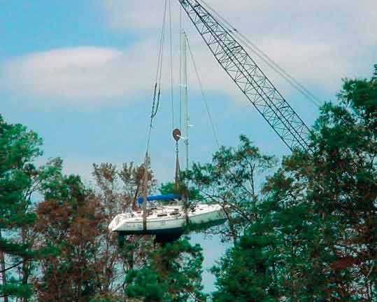 Salvaging boat after Hurricane Isabel