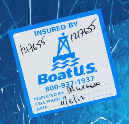 Insured by BoatUS sticker