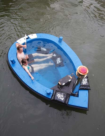 Photo of a floating hot tub