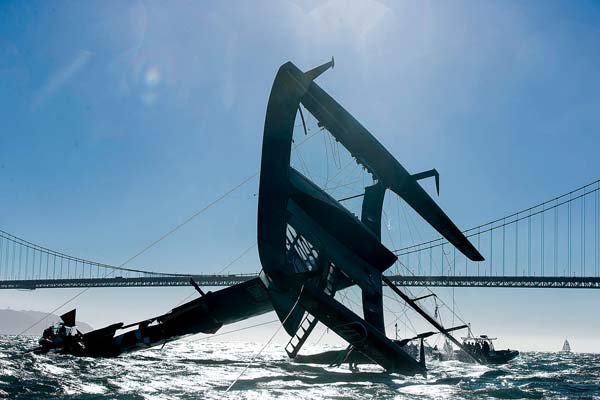 Photo of Oracle Team's America's Cup catamaran capsized