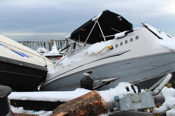 Photo of damage at Mansion Marina, Great Kills Harbor, Staten Island