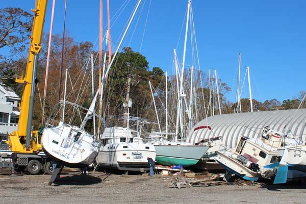 Photo of damage at Nelson Marine Basin, Island Heights, NJ