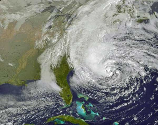Image of Superstorm Sandy from space