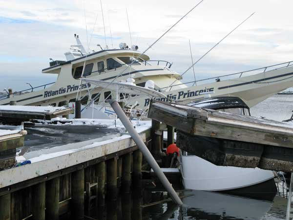 Photo of Superstorm Sandy damage at Staten Island marina