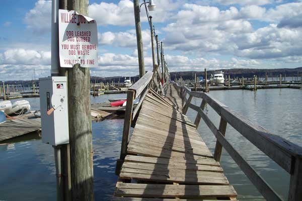 Photo of fixed dock destroyed by the storm surge