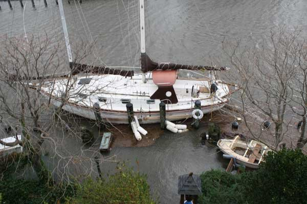 Photo of Donald Launer's schooner on his fixed dock