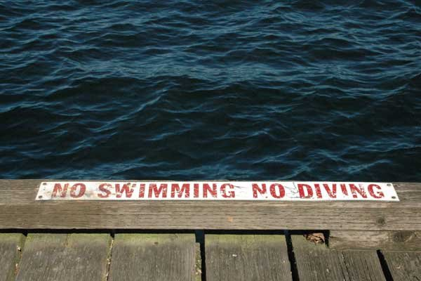 Photo of a dock with sign NO Swimming or Diving