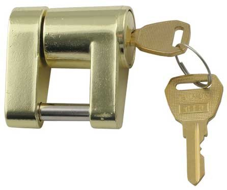 Photo of a basic trailer lock and key