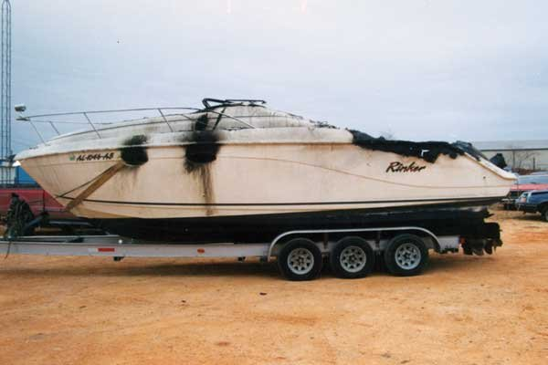 Photo of burn-damaged Rinker